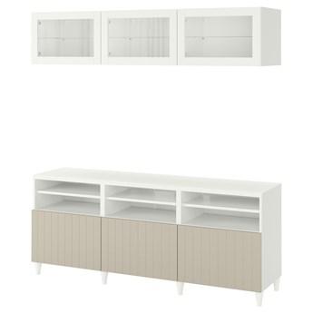 IKEA BESTÅ Kombinacja na TV/szklane drzwi, Biały Sutterviken/Kabbarp/szarobeżowy szkło bezbarwne, 180x42x192 cm
