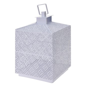 SELSEY Latarenka metalowa 21 cm biała