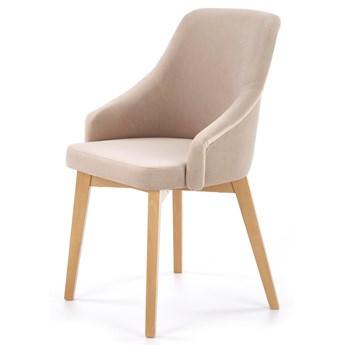 Nowoczesne krzesło do salonu jadalni tapicerowane z drewnianymi nóżkami Velvet aksamit welur TOLEDO 2 beżowe Halmar
