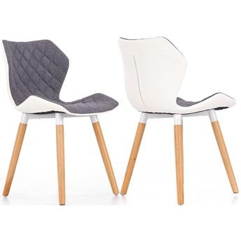 Krzesło nowoczesne pikowane do salonu kuchni z drewnianymi nóżkami skóra ekologiczna skandynawskie K277 szare popielate Halmar