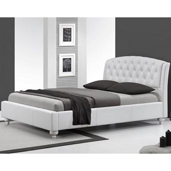 Tapicerowane łóżko 160x200 ze skóry ekologicznej z drewnianymi nóżkami SOFIA białe Halmar