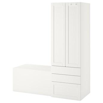 IKEA SMÅSTAD / PLATSA Regał, Biały biała rama/z ławką, 150x57x181 cm