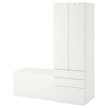 IKEA SMÅSTAD / PLATSA Regał, Biały biały/z ławką, 150x57x181 cm