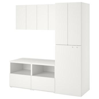 IKEA SMÅSTAD / PLATSA Regał, Biały biały/z wysuwaniem, 180x57x196 cm