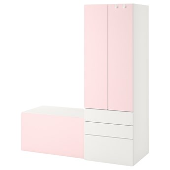 IKEA SMÅSTAD / PLATSA Regał, Biały bladoróżowy/z ławką, 150x57x181 cm