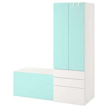 IKEA SMÅSTAD / PLATSA Regał, Biały bladoturkusowy/z ławką, 150x57x181 cm