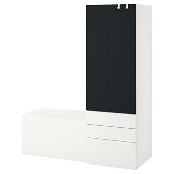 IKEA SMÅSTAD / PLATSA Regał, Biały powierzchnia tablicowa/z ławką, 150x57x181 cm