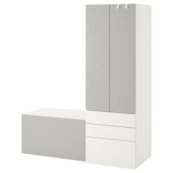 IKEA SMÅSTAD / PLATSA Regał, Biały szary/z ławką, 150x57x181 cm