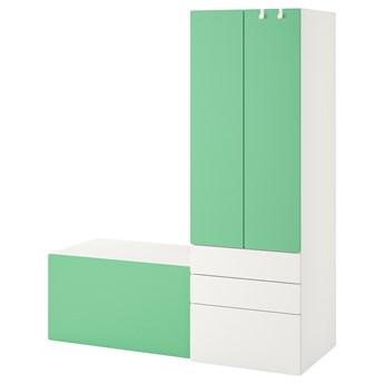 IKEA SMÅSTAD / PLATSA Regał, Biały zielony/z ławką, 150x57x181 cm