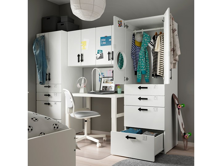 IKEA SMÅSTAD Regał, Biały/biała rama, 240x57x181 cm Kategoria Zestawy mebli do sypialni