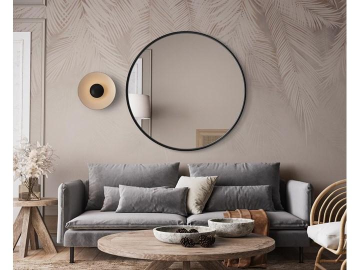Lustro Scandi – okrągłe w czarnej ramie Lustro z ramą Ścienne Pomieszczenie Salon