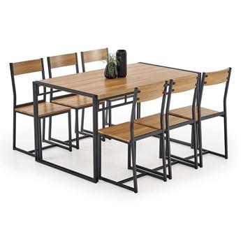 Drewniany zestaw stół 140x80cm + 6 krzeseł BOLIVAR dąb złoty Halmar