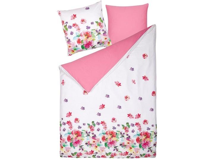 Komplet pościeli poszewki na kołdrę i poduszkębiało-różowy kwiecisty wzór bawełna 135 x 200 cm nowoczesny sypialnia 135x200 cm Pomieszczenie Pościel do sypialni