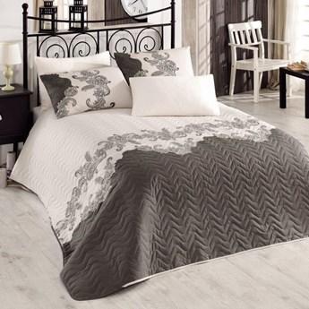 SELSEY Narzuta Koronki 200x220 cm z dwiema poszewkami na poduszki 50x70 cm beżowa z ciemnym wzorem