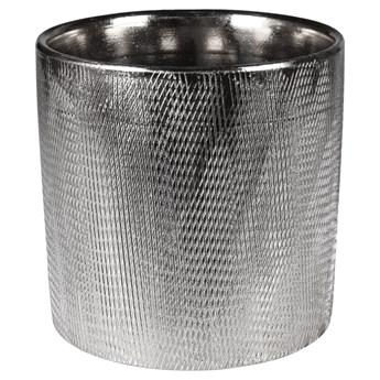 SELSEY Osłonka na doniczkęStelly ceramiczna 13,5 cm srebrna