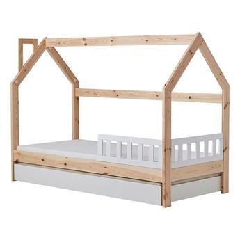 SELSEY Łóżko domek dla dzieci Hussie z białą barierką, szufladą i materacem 70x160 cm
