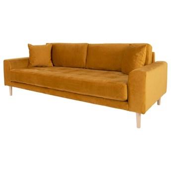 SELSEY Sofa trzyosobowa Dagmarri 210 cm musztardowy welur