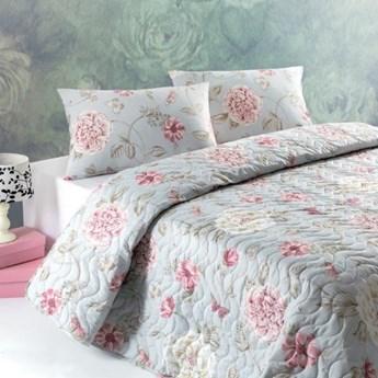 SELSEY Narzuta Minty Rosesy 200x220 cm z dwiema poszewkami na poduszki 50x70 cm miętowa