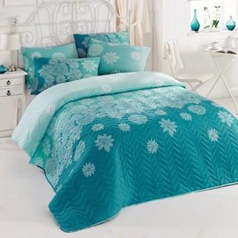 SELSEY Narzuta Softly 200x220 cm z dwiema poszewkami na poduszki 50x70 cm turkusowa