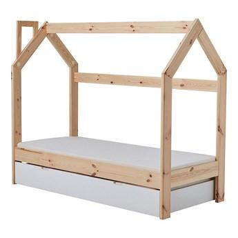 SELSEY Łóżko domek dla dzieci Hussie z barierką, szufladą i materacem 70x160 cm