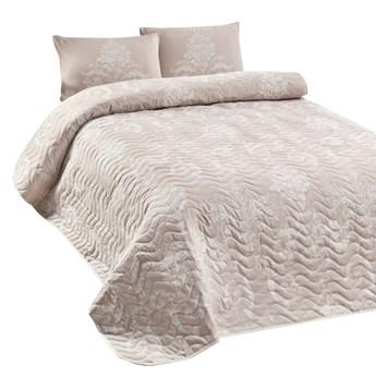 SELSEY Narzuta Neriel 160x220 cm z poszewką na poduszkę 50x70 cm kremowe zdobienia