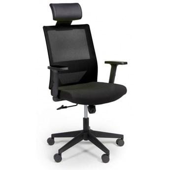 Krzesło biurowe z oparciem z siatki WOLF, regulowane podłokietniki, plastikowy krzyżak, czarne