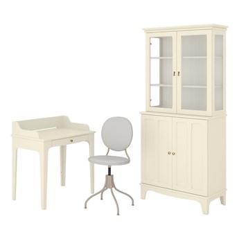 IKEA LOMMARP/BJÖRKBERGET Kombinacja biurko/szafka, i krzesło obrotowe beżowy