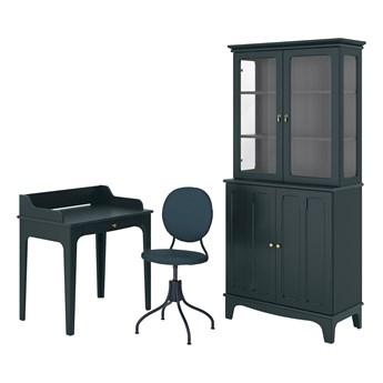 IKEA LOMMARP/BJÖRKBERGET Kombinacja biurko/szafka, i krzesło obrotowe niebiesko-zielony