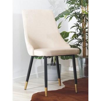 Eleganckie krzesło do jadalni w stylu glamour GOLDI beżowe na czarno- złotych nogach