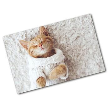 Deska kuchenna szklana Kotek w swetrze