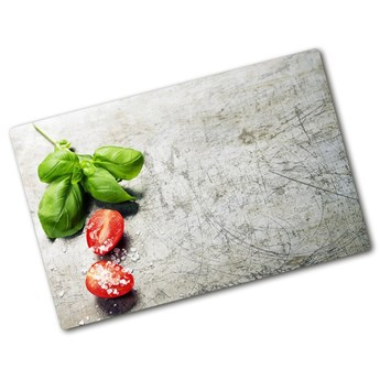 Deska kuchenna duża szklana Pomidory i bazylia