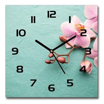 Zegar ścienny szklany kwadratowy Orchidea