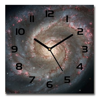 Zegar ścienny szklany kwadratowy Mgławica