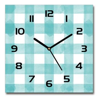 Zegar szklany kwadratowy Niebieska krata