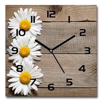 Zegar szklany kwadratowy Stokrotki drewno