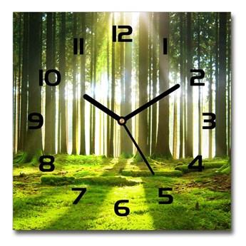 Zegar szklany kwadratowy Las w słońcu