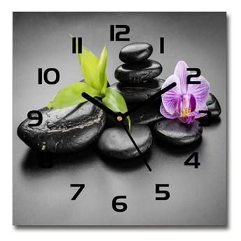 Zegar szklany kwadratowy Kamienie zen