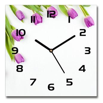Zegar szklany kwadratowy Fioletowe tulipany