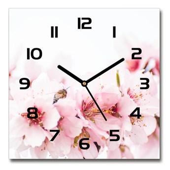 Zegar szklany kwadratowy Kwiaty wiśni