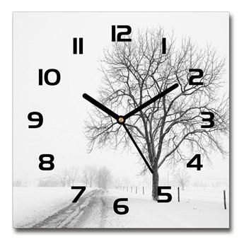 Zegar szklany na ścianę Drzewo zimą