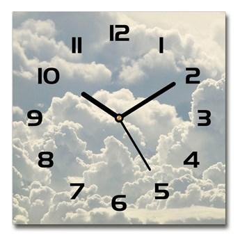 Zegar ścienny szklany kwadratowy Chmury