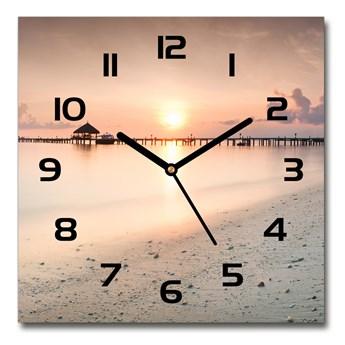 Zegar szklany kwadratowy Plaża Malediwy
