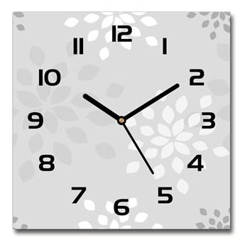 Zegar szklany kwadratowy Kwiecisty wzór