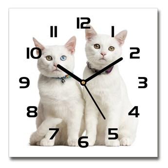 Zegar szklany kwadratowy Białe koty