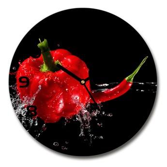 Zegar szklany okrągły Czerwone papryki