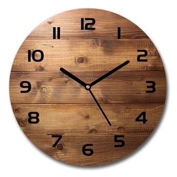 Zegar szklany okrągły Drewniane tło