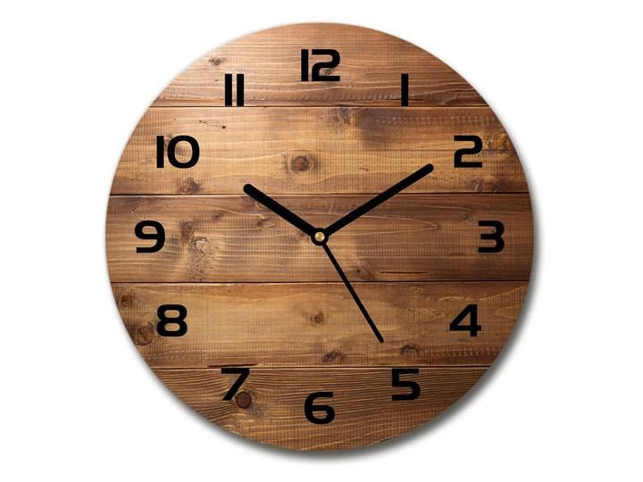 Zegar szklany okrągły Drewniane tło Kategoria Zegary Zegar ścienny Drewno Szkło Kolor Brązowy