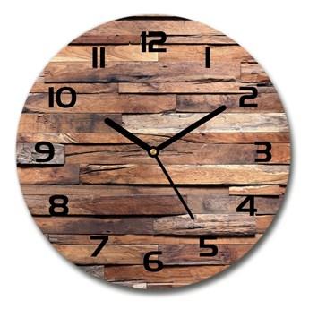 Zegar szklany okrągły Drewniana ściana