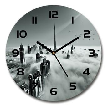 Zegar szklany okrągły Mgła nad Dubajem