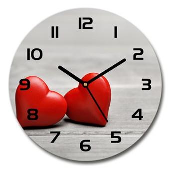 Zegar szklany okrągły Serca na drewnie
